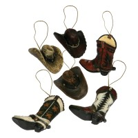 Western Christmas Ornaments -6pcs