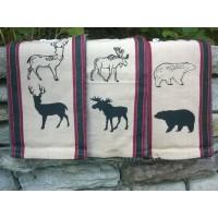 Wildlife Black Prints Waffle Kitchen Towels