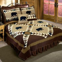 Woodcut Bear Quilted Bedding Set-Queen