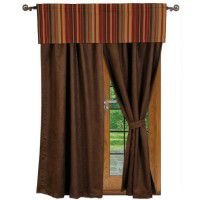 Chocolate Suede Drapes and Bandera Valance