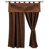 Milady Valance & Chocolate Faux Suede Drapes