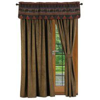 Athena Olive Drapes and Cabin Bear Valance