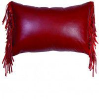 Dark Red Leather Pillow