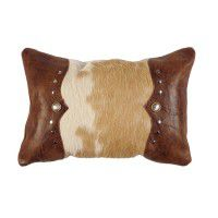 Hair on Hide with Tulsa edges Leather Pillow