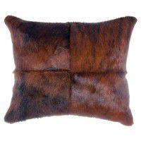 Dark Brindle Hair on Hide Pillow