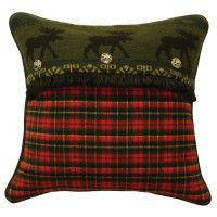 River Plaid Moose Pillow