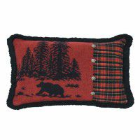 River Bear and Plaid Pillow