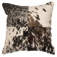 4 Patch Speckled Hair on Hide Pillow