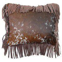 Fargo Fringed Leather Pillow