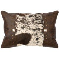 Dark Brown Speckled Hair with Leather Pillow