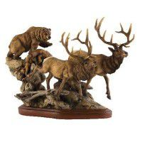 The Encounter – Grizzly Bear & Elk Sculpture