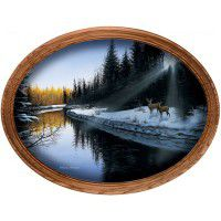 An Evening Along The River Framed Oval Canvas