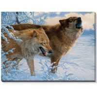 Smoke and Fire Wolves Wrapped Canvas
