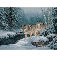 Along the Creek - Wolf Wrapped Canvas