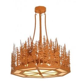 Octagon Inverted Pine Tree Pendant Light