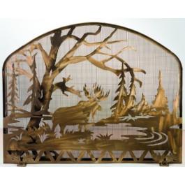 Antique Copper Moose Fire Screen