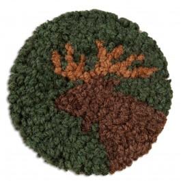 Moose Hand-Hooked Wool Coaster Set of 4