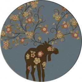 Moose Blossom-Round Rug-Blue