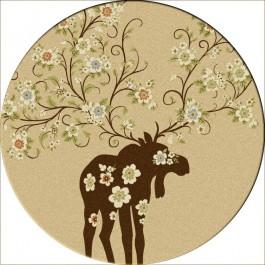 Moose Blossom-Round Rug-Natural