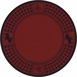 Moose Refuge on Red Round Rug