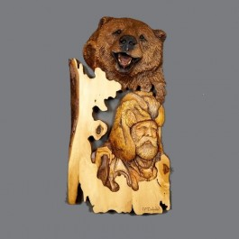 Brown Bear Original and Signed Carving 14 x 28 -SOLD