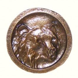 Antique Brass Round Bear Head Knob