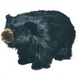 Shaggy Black Bear Footstool