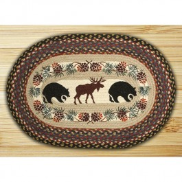 Oval Moose & Bear Braided Rug