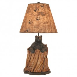 Bear in a Stump Table Lamp