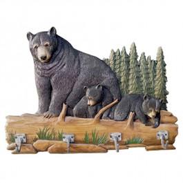 Bear Family Carved Wood Coat Rack