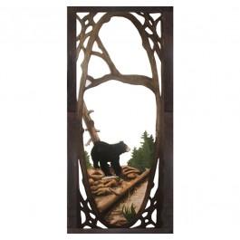 Bear Fishing Carved Screen Door