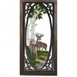 Whitetail Deer Carved Screen Door