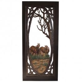 Horse Carved Screen Door