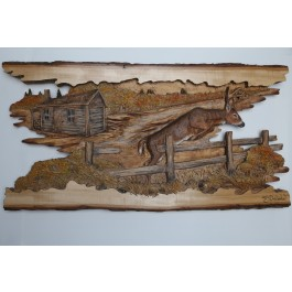 """""""The Leap"""" Original and Signed Woodcarving 15 x 29"""