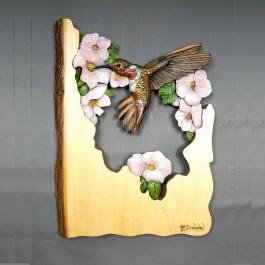 Hummingbird Original and Signed Carving 12 x 17