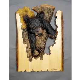 """""""In a Tight Spot"""" Original and Signed Woodcarving 15 x 21"""