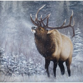 Emperor of the Woods Print Canvas Embellished and Signed