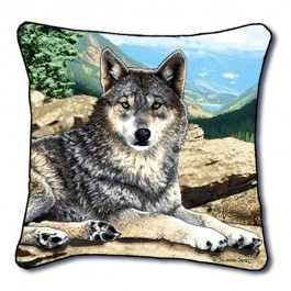 Grey Song Wolf Pillow