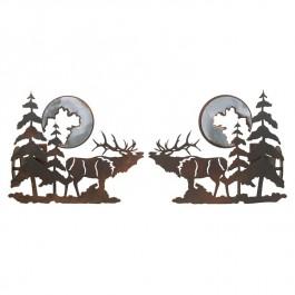 Elk and Pine Curtain Rod Brackets & Tie Backs