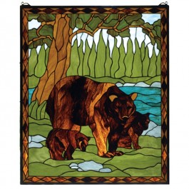 Bear Family Stained Glass Window