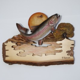 """""""Sunrise Fly"""" Original and Signed Carving 12 x 18"""