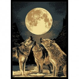 Howling Moon Wolf Area Rug