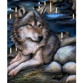 Wolf Original and Signed Carving 27 x 39