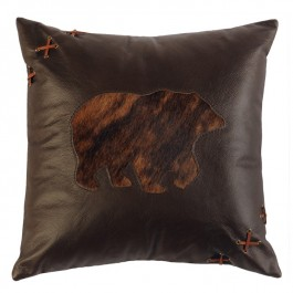 Laced Bear Leather Pillow