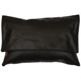 Black Leather Envelope Pillow