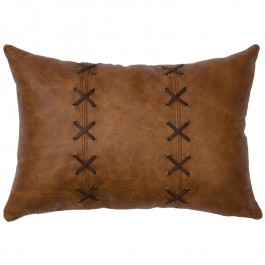 Whiskey Cross Stitch Leather Pillow
