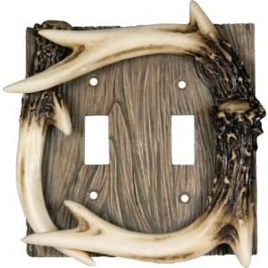 Deer Antler on Barnwood Resin Switch Covers