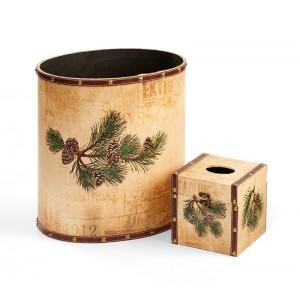 Pinecone Wastebasket & Tissue Box Set
