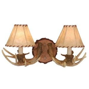 Lodge Antler Double Wall Lamp