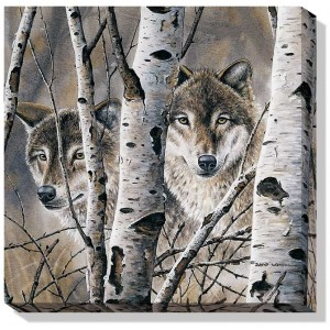 Fleeting Glimpse – Wolves Wrapped Canvas Art